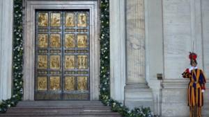 swiss guard at holy door