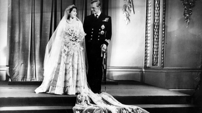 Elizabeth and her new husband Philip pose on their wedding day. (Credit: Keystone-France/Gamma-Keystone via Getty Images)